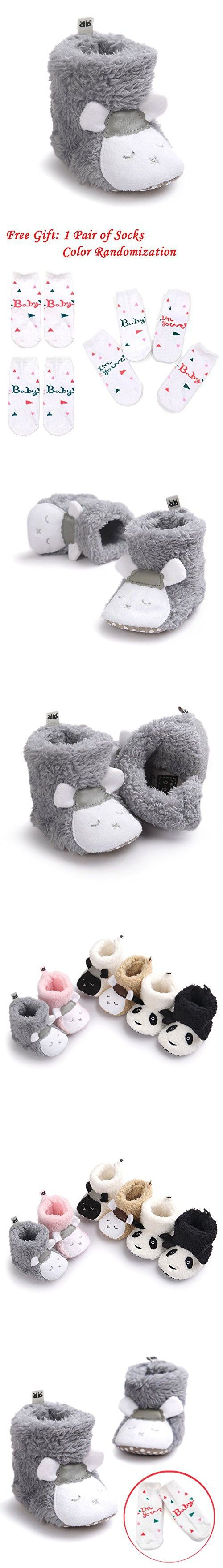 LIVEBOX Baby Boy and Girls' Premium Soft Sole Cartoon Animal Anti-Slip Mid Calf Warm Winter Infant Prewalker Toddler Snow Boots With Free Gift Socks (S: 0~6 months, Gray Sheep)