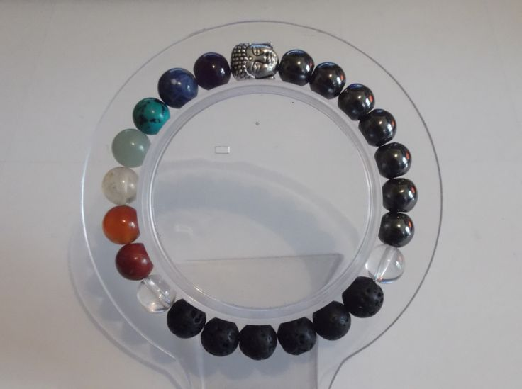 Gemstone 7 Chakra Stretch Bracelet,Buddha Charm,Healing Bracelet, by HealingAuras on Etsy
