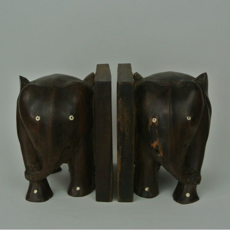 Vintage Carved Wood Elephant Bookends