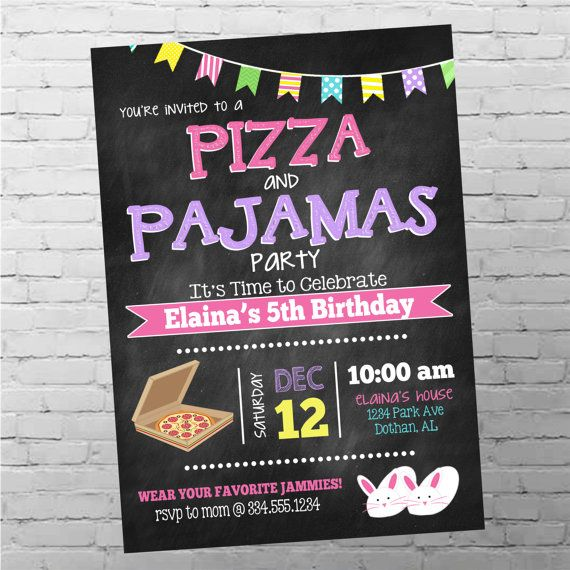 Pizza and Pajamas Birthday Invitation  Pizza by SweetCottonPaperie