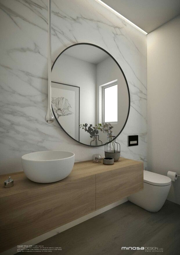 Simple powder room with round mirror #powderroom #mirrors #bathroomtiles