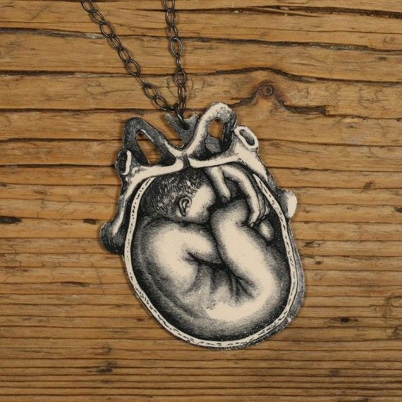 Uterus and Fetus Necklace by mamaslittlebabies on Etsy, $32.00