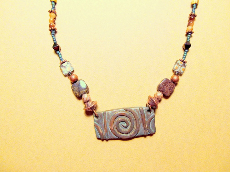Jewelry-Necklace, featuring a hand painted polymer clay focal beadPolymer Clay, Painting Polymer