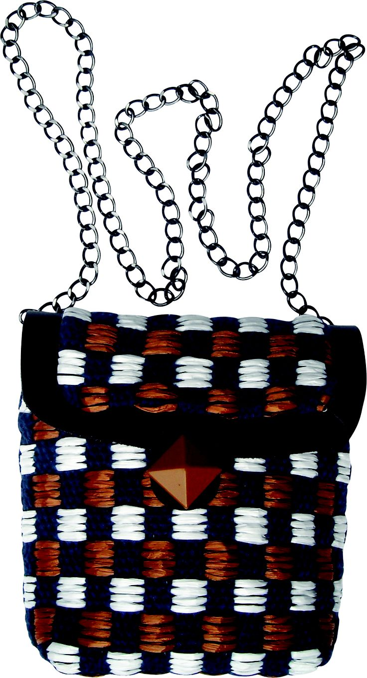 Submarine Xs chain small bag in handwoven fabric chess blue. geometrical details. chain handle