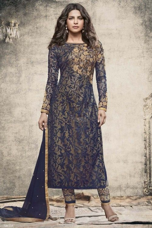Navy Blue And Golden Brasso And Net Trouser Suit With Dupatta   http://www.andaazfashion.co.uk/bollywood-trouser-suits