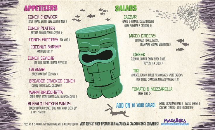 All Day Menu Macabuca | Cracked Conch-Macabuca - Restaurant Bar and Grill - Grand Cayman
