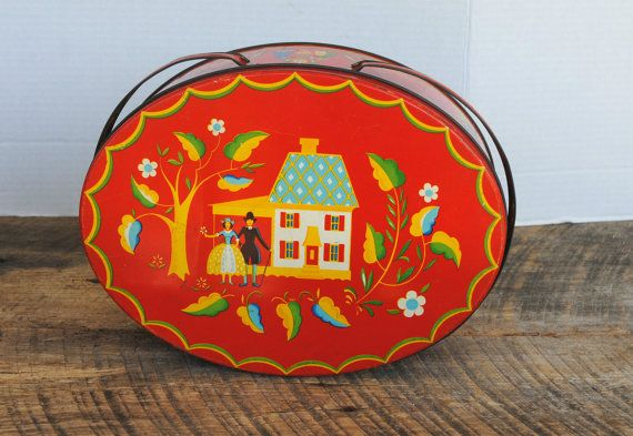 Vintage Red Oval Sewing Storage Handled Tin Pennsylvania Dutch