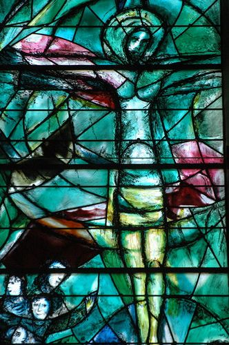Chagall stained glass window of the Lord JESUS Christ on the Cross!  (1/28/2014) Art: Stained Glass  (CTS)
