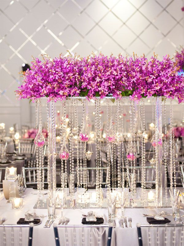 Tall Wedding Centerpieces - High Wedding Centerpieces | Wedding Planning, Ideas & Etiquette | Bridal Guide MagazineCrystals Wedding, Wedding Tables, Wedding Receptions, Tall Centerpiece, Tall Wedding Centerpieces, Wedding Plans Ideas, Long Tables, Center Piece, Purple Flower