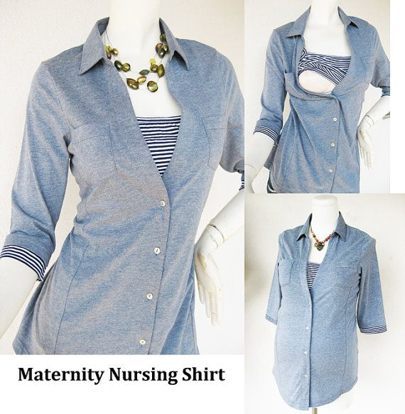 ANNA Shirt /  Maternity Clothes / Nursing Top / Breastfeeding Top / NEW Original Design BLUE / Nursing Tops for Breastfeeding