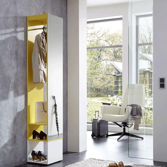 Mission Hallway Coat And Shoe Storage With Mirror In Yellow - Hallway Furniture, Narrow, White, Oak, Furnitureinfashion UK