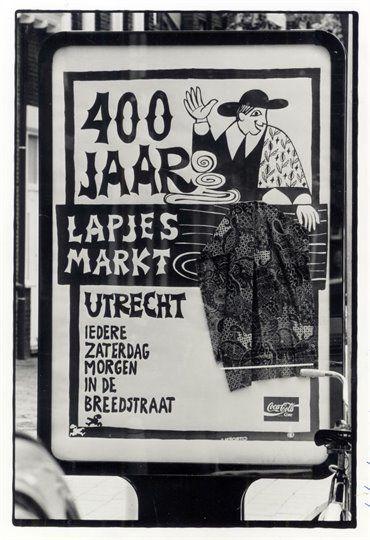 Affiche ter gelegenheid van 400 jaar lapjesmarkt aan de Breedstraat te Utrecht in 1992