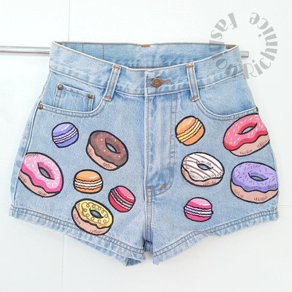 Donuts macaron cute painted jeans Hand painted shorts handmade High Waisted jeans Denim Pants acrylic painting party