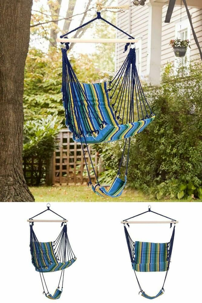 Hanging Rope Hammock Large Single Swing Chair Striped Fabric Seat