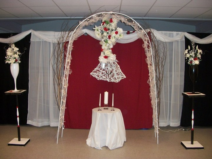 My Wedding Decorations Curtains Lined Back Wall Hung On Pvc Pipe Arch Had Tree