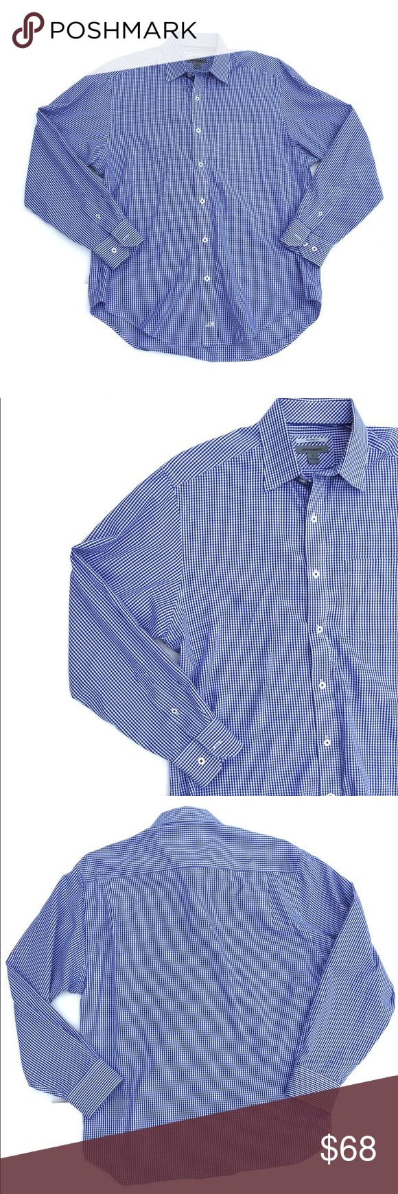 Johnston and Murphy blue gingham button down Johnston and Murphy blue gingham button down.  Like new, never worn. Tailored fit. Johnston & Murphy Shirts Dress Shirts