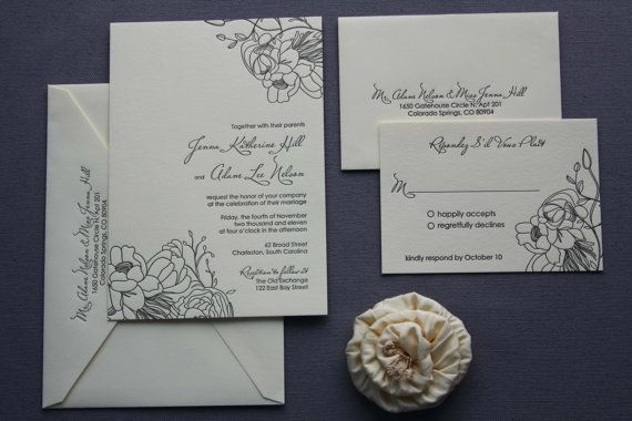 Jenna-- floral letterpress wedding invitation and response card, SAMPLE. $9.00, via Etsy.