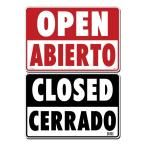 14 in. x 10 in. Red Open - Black Closed on Plastic Sign, White With Black And Red