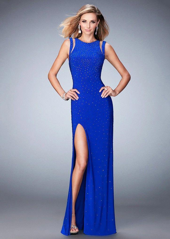 0baff515d88f La Femme 22394 Sparkling Beaded Strappy Open Back Prom Dress #Promshoes