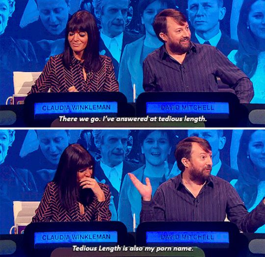 "When David Mitchell came up with the perfect porn star name. | 27 Times ""The Big Fat Quiz Of The Year"" Made You Literally LOL"