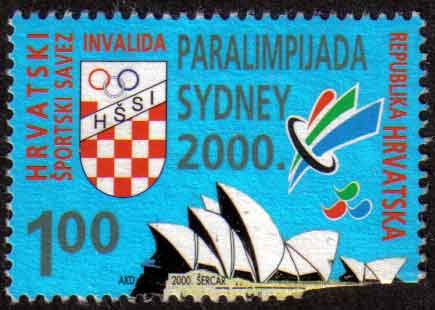 Yet another stamp featuring the Sydney Opera House, this one a Croatian stamp for 2000 Summer Paralympics.