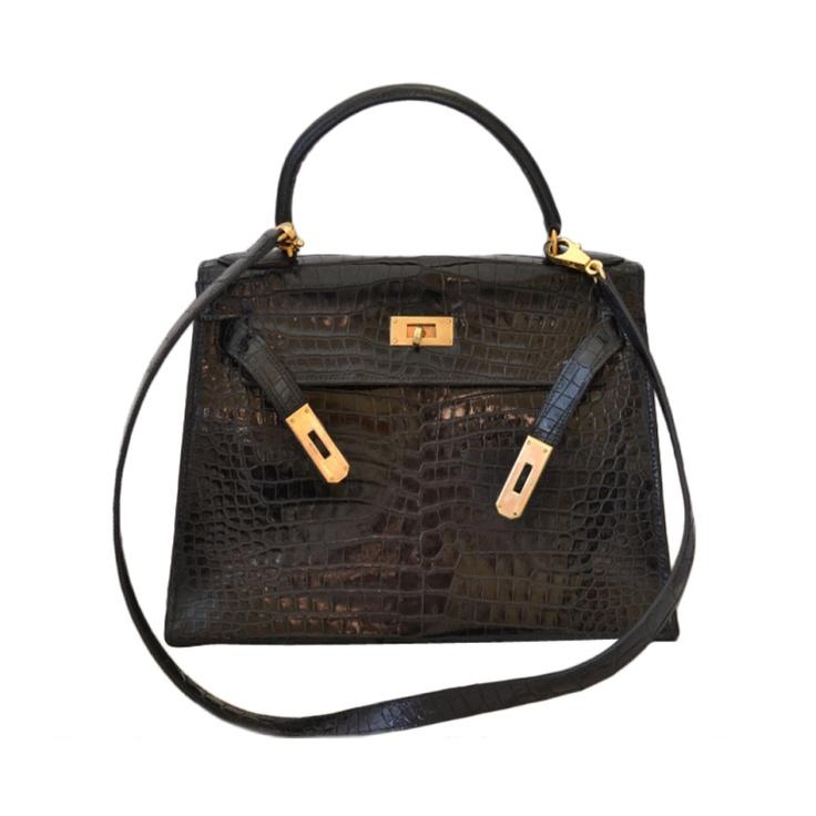 Hermes Kelly 28 handbag in Porosus crocodile | Leslie\u0026#39;s Closet ...