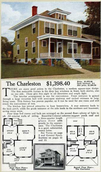 The Charleston, a four square from 1916.   Floor plan similar to a home we had in N.J. Ours had a better facade.  I miss that house!