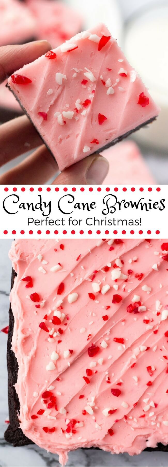 These candy cane brownies are the perfect Christmas brownies. They start with fudgy chewy brownies, then they're topped with a thick layer of creamy peppermint frosting and sprinkled with crushed candy canes.