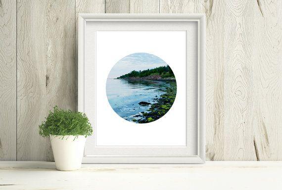 Printable Beach Shore Photograph, Minimalist Circle Print by PlayfulPixieStudio #circleprint #printablewallart #beachdecor #instantdownload