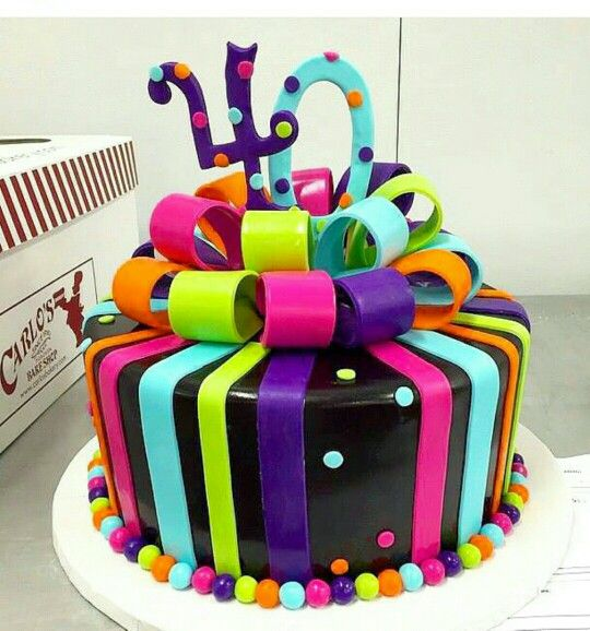Cute cake for a neon/glow in the dark theme party
