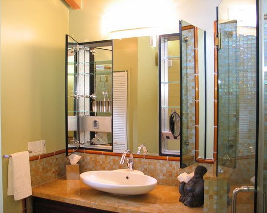 Bathroom Luxury Decoration With Multi Mirrors Design Plus Pretty Sink And Modern Faucet Do