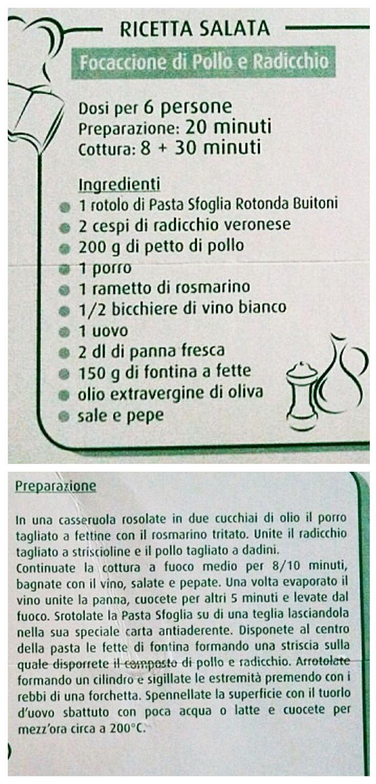 Ricetta #pollo e #radicchio in pasta sfoglia. L'uovo può essere omesso.