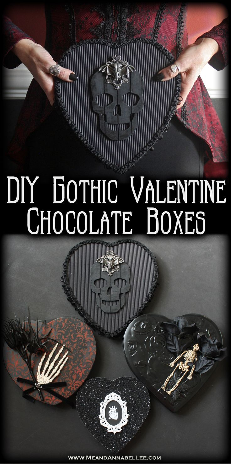 DIY Victorian and Gothic Valentine Boxes of Chocolates | Black Hearts | Black & White Anatomical Human Heart | Skeletons | Dark Romance | www.MeandAnnabelLee.com
