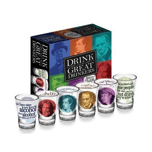 Drink with the Great Drinkers Shot Glass Set - includes Oscar Wilde, Dorothy Parker, W.B. Yeats.