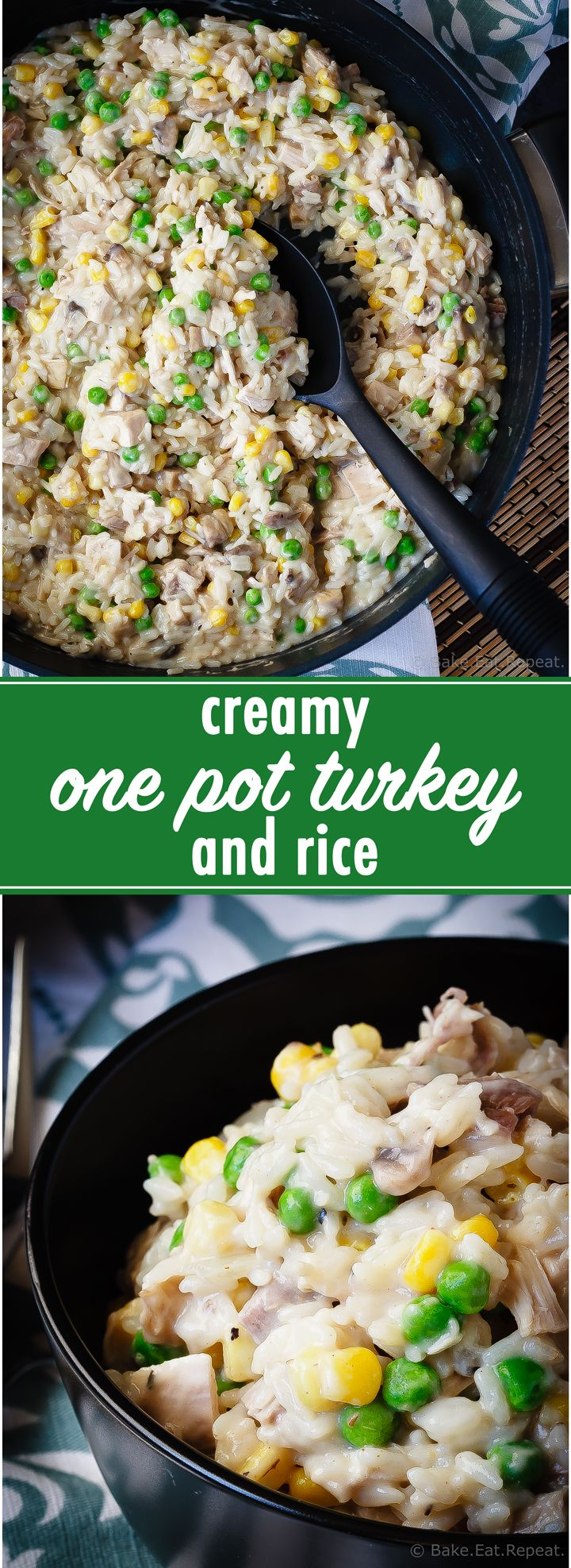 This 30 minute creamy one pot turkey and rice is filled with flavour and a fantastic way to use up your leftover turkey! Fast, easy, delicious.