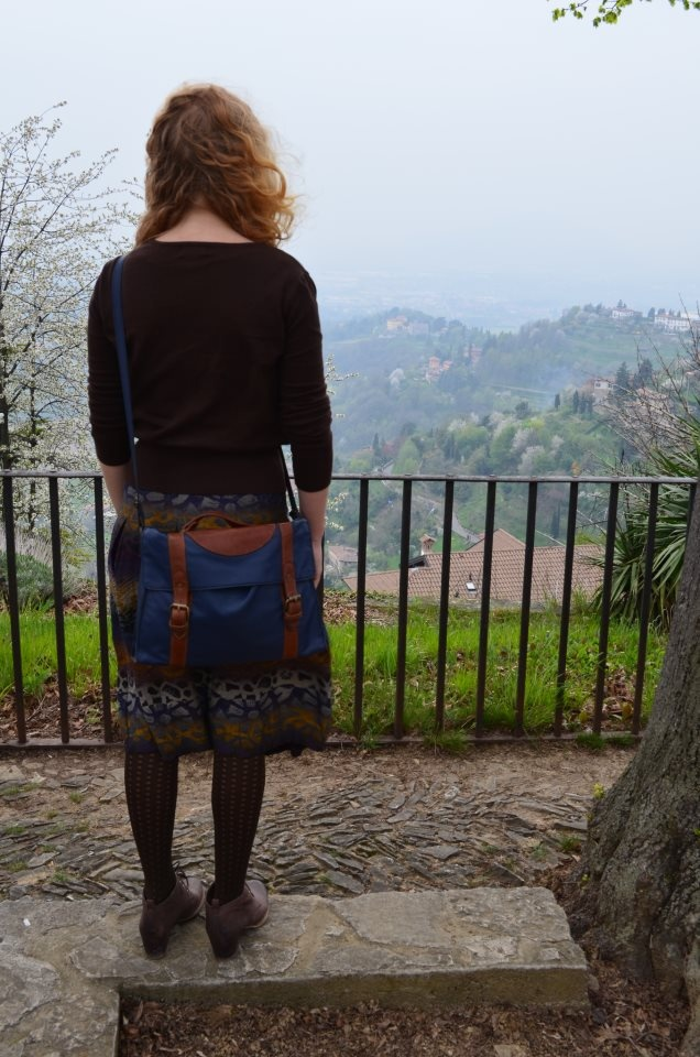 The lovely Asne with her Kushn Satchel in Bergamo, Italy.