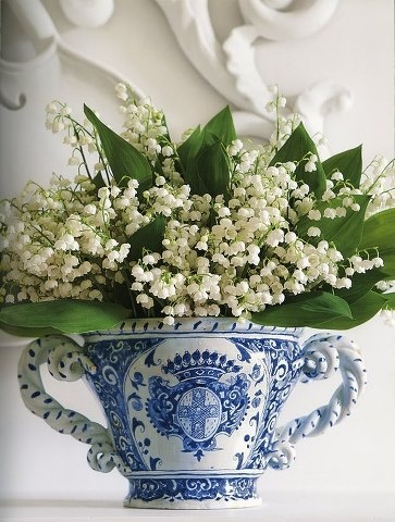 lilies of the valley + blue + white