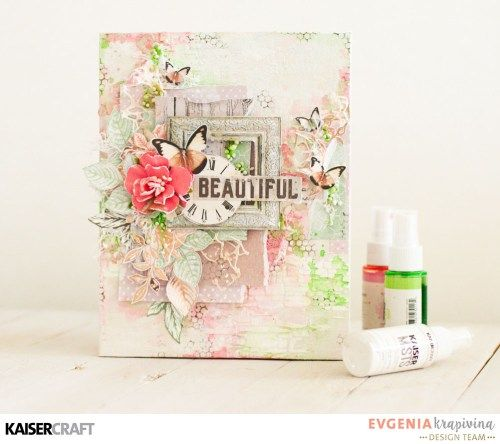 `Beautiful` - A Shabby Chic canvas by Evgenia Krapivina Design Team member for Kaisercraft Official Blog. Featuring their New May 2017 collection Sage and Grace. Learn more at kaisercraft.com.au/blog ~ Wendy Schultz ~ Beyond the Page Projects.