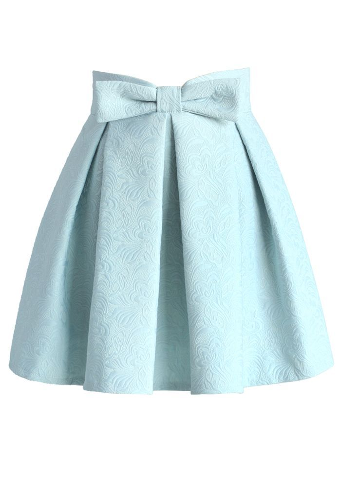 awesome Sweet Your Heart Jacquard Skirt in Pastel Blue - Retro, Indie and Unique Fashion