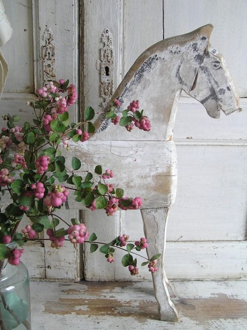 """Wooden horse, colorful spray of berries, from Gypsy Purple home: """"I just love decorating--all styles-- but for myself and my own home I lean towards the french country and scandanavian decorating styles...always with a touch of the bohemian"""" - I love her style! #ShabbyChic #Bohemian #Horse tå√"""