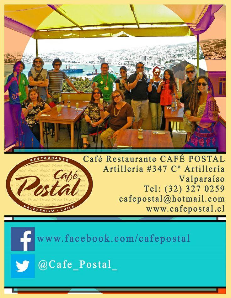 Café Postal. Con una vista hermosa de la bahía de Valparaíso se pueden disfrutar desde deliciosos almuerzos. Este café cuenta con un servicio postal exclusivo para sus clientes.