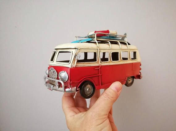 Red and white VW van retro collectible metal VW van