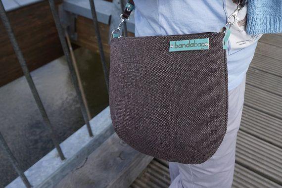 Brown messenger bag crossbody bag with genuine leather by bandabag