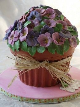 Flower Pot cake, alternate use for giant cupcake pan
