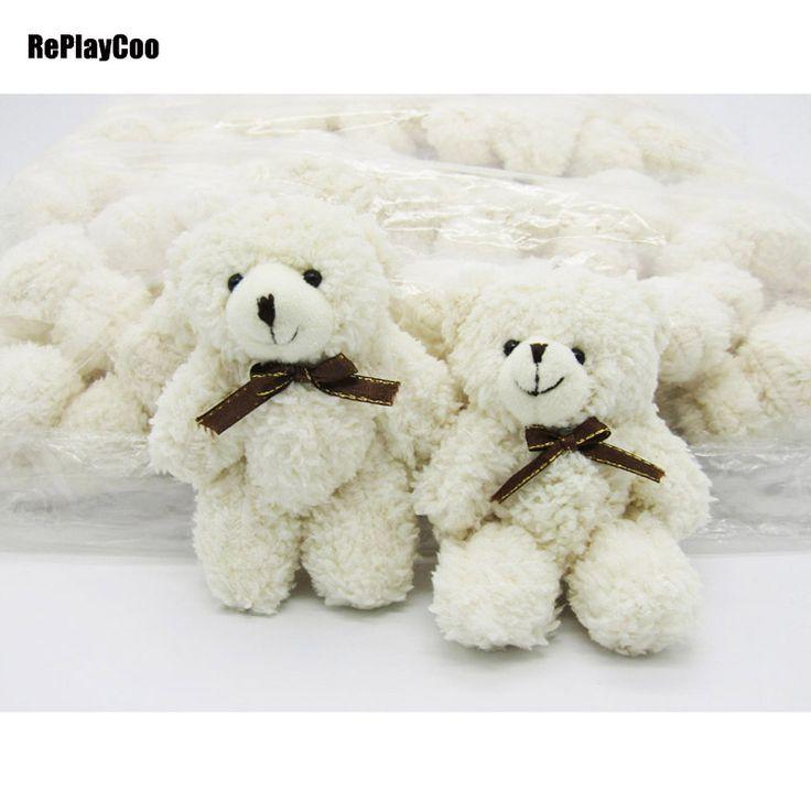 40PCS/LOT Kawaii Small Joint Teddy Bears 12CM Stuffed Plush With Chain White Toy Teddy-Bear Mini Bear Ted Bears Toys 0901