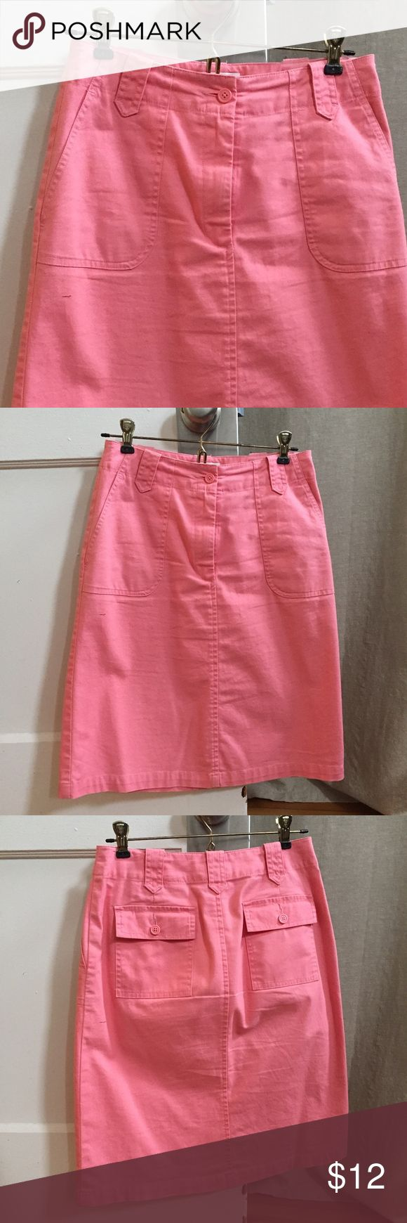 Talbots High waisted A-line Skirt Talbots High waisted A-line Skirt. Coral stretch cotton, patch back pockets, knee length. Excellent used condition. Size 2 Petite.  Dreaming of spring & summer: pair this with espadrilles and a Breton tee. Talbots Skirts A-Line or Full