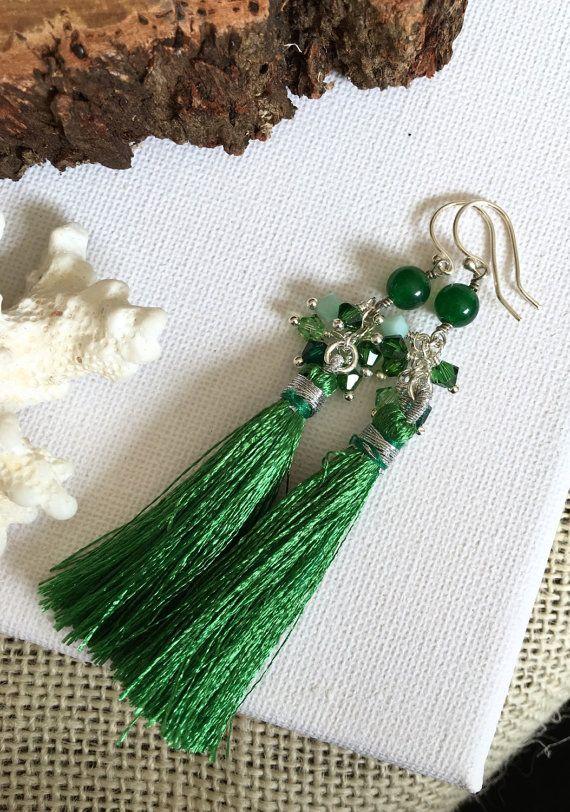 Green  Bridesmaid Jewellery  Tassel by GreenGeckoJewellery on Etsy