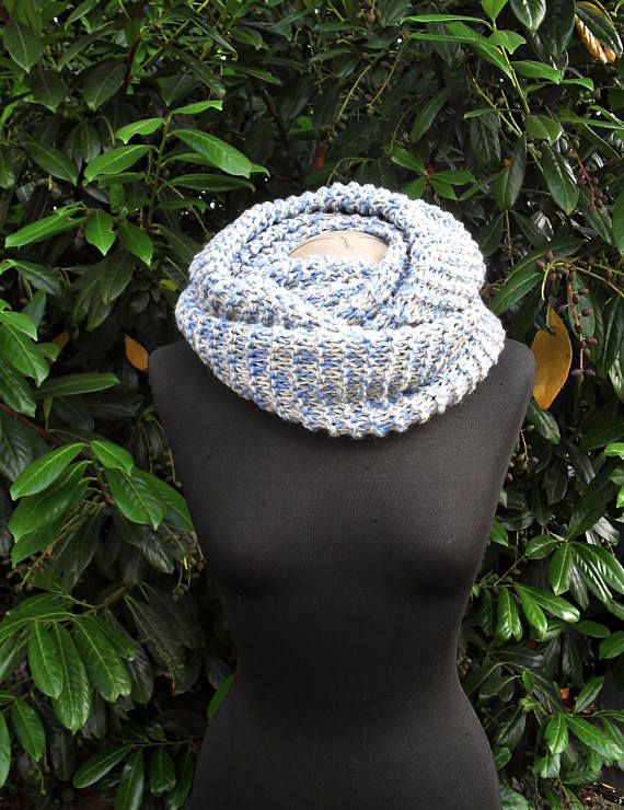 Light Blue Wool Scarf Chunky Scarf Circle Scarf Infinity
