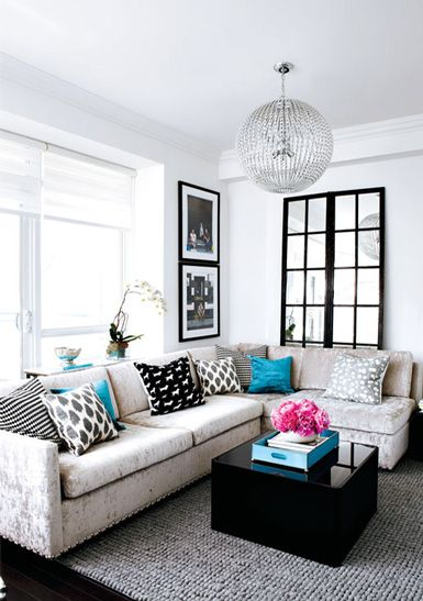 the pink flowers are just the right touch. love everything in this apartmentDecor Ideas, Living Rooms, Couch, Black And White, Colors, Livingroom, Interiors Design, Black White, House
