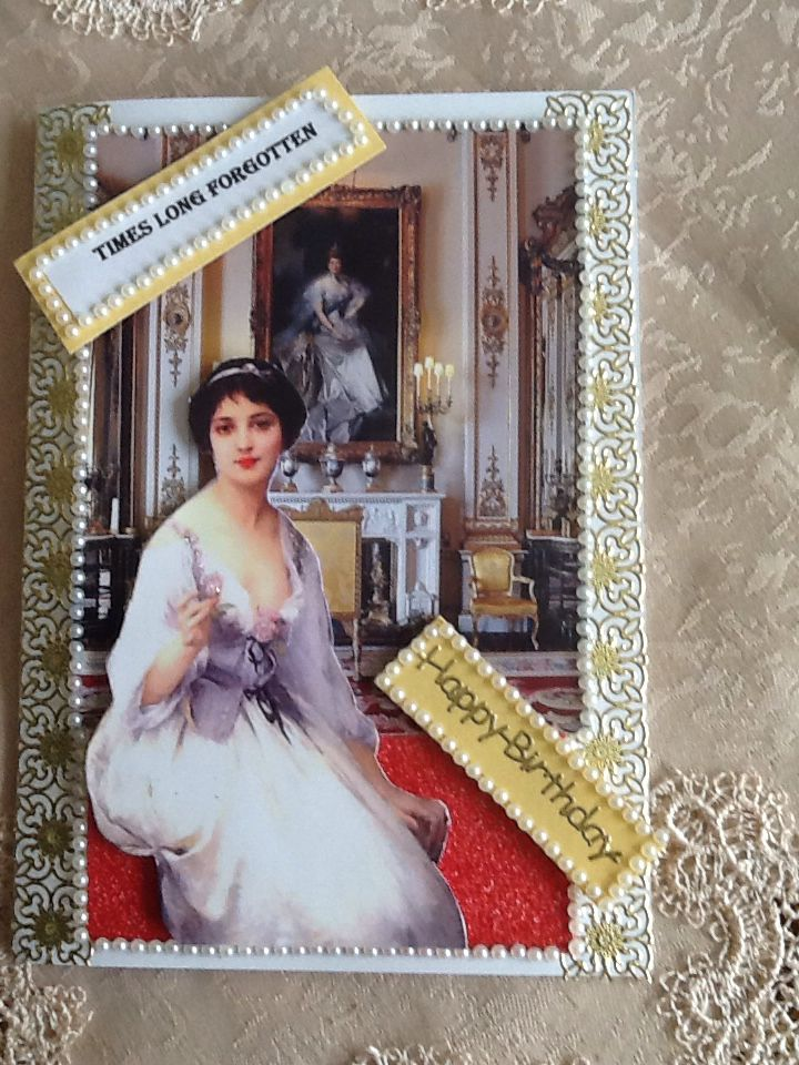 Background from Google images, gold lace border from local craft shop, Victorian lady downloaded from Pinterest